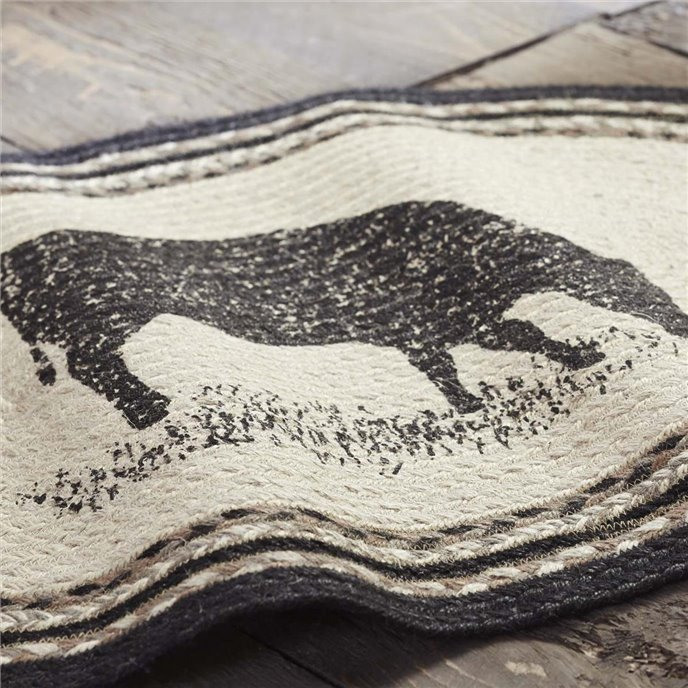 Sawyer Mill Charcoal Cow Jute Rug Oval 20x30 Thumbnail