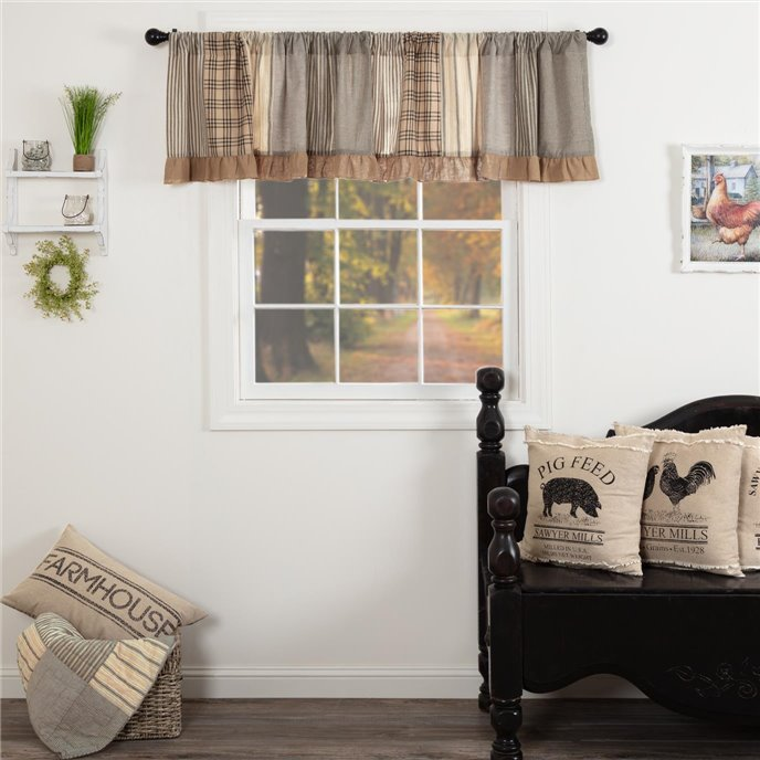 Sawyer Mill Charcoal Patchwork Valance 19x90 Thumbnail