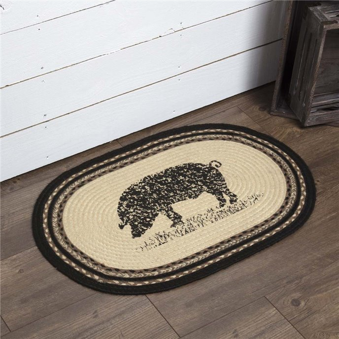 Sawyer Mill Charcoal Pig Jute Rug Oval 20x30 Thumbnail