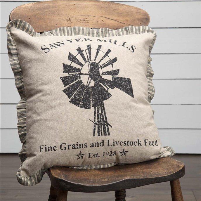 Sawyer Mill Charcoal Windmill Pillow 18x18 Thumbnail