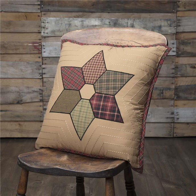 Tea Star Patchwork Pillow 18x18 Thumbnail