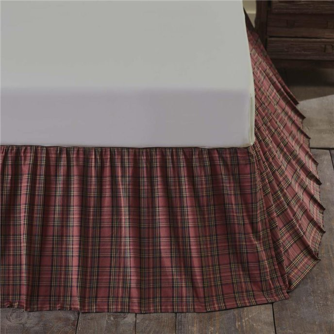 Tartan Red Plaid Queen Bed Skirt 60x80x16 Thumbnail