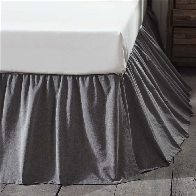 Black Chambray King Bed Skirt 78x80x16 Thumbnail