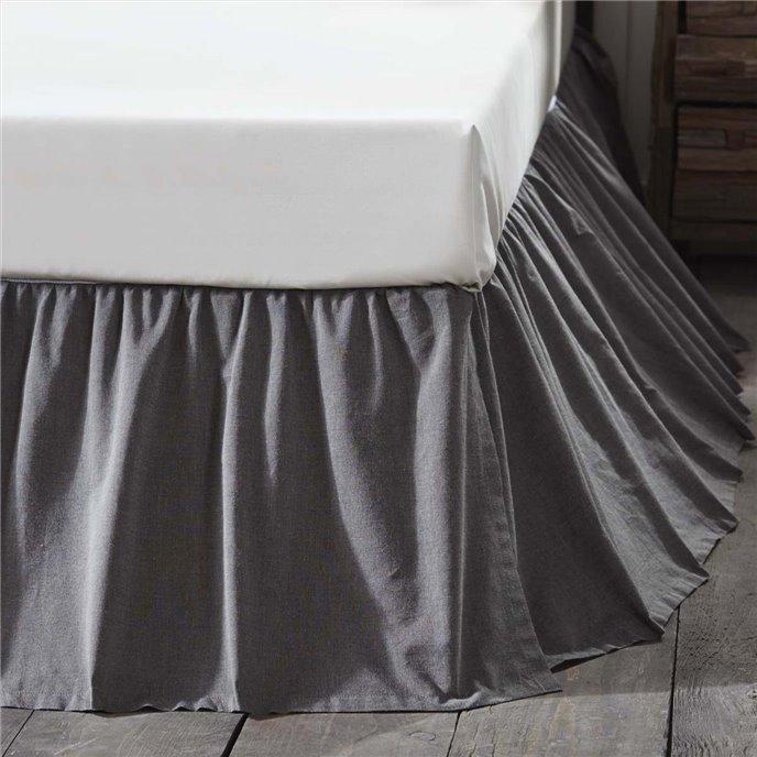 Black Chambray Queen Bed Skirt 60x80x16 Thumbnail