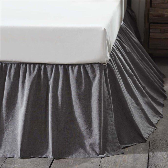 Black Chambray Twin Bed Skirt 39x76x16 Thumbnail