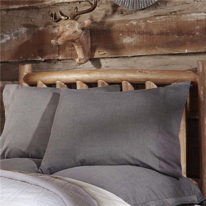 Black Chambray Standard Pillow Case Set of 2 21x30 Thumbnail