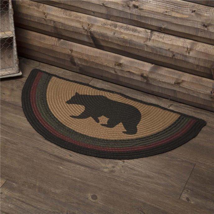 Wyatt Stenciled Bear Jute Rug Half Circle 16.5x33 Thumbnail