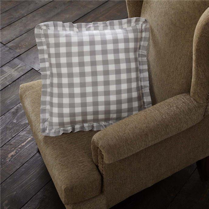 Annie Buffalo Grey Check Ruffled Fabric Pillow 18x18 Thumbnail