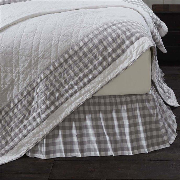 Annie Buffalo Grey Check King Bed Skirt 78x80x16 Thumbnail