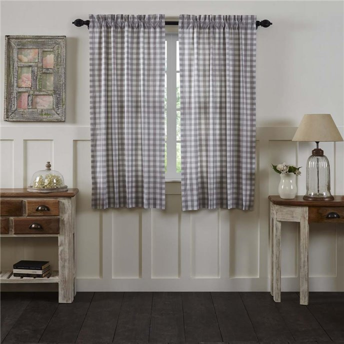 Annie Buffalo Grey Check Short Panel Set of 2 63x36 Thumbnail