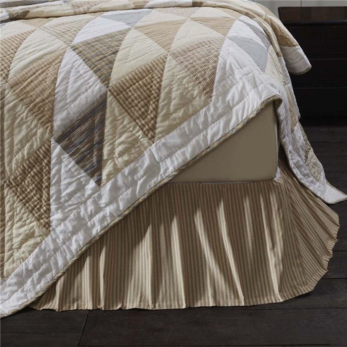 Joanna Ticking Stripe Twin Bed Skirt 39x76x16 Thumbnail
