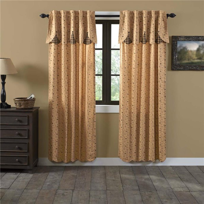 Maisie Panel with Attached Scalloped Layered Valance Set of 2 84x40 Thumbnail