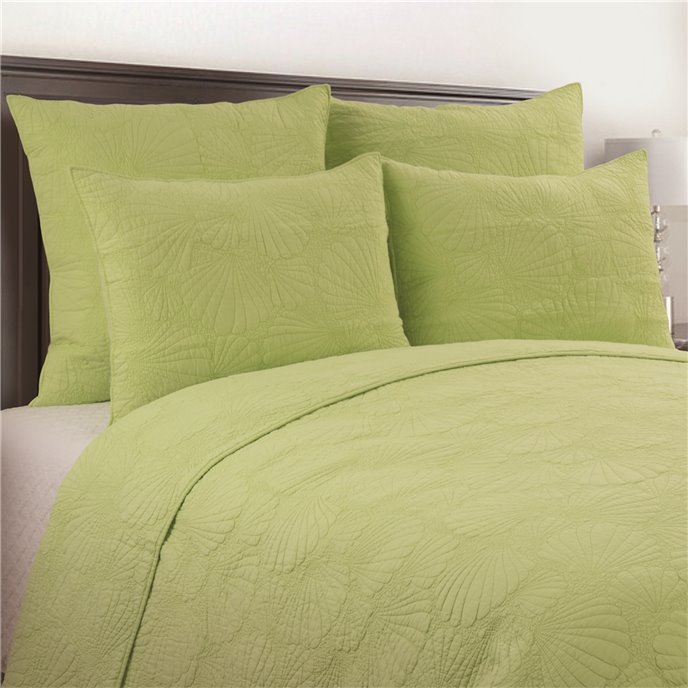 Scallop Shell Green 3 Piece Queen Quilt Set Thumbnail