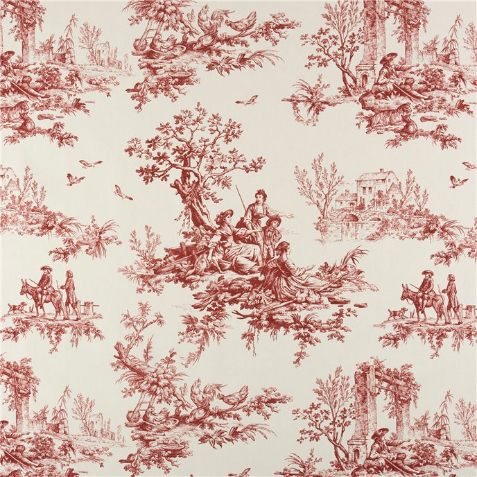 Bouvier Red Toile Main Print Fabric Thumbnail