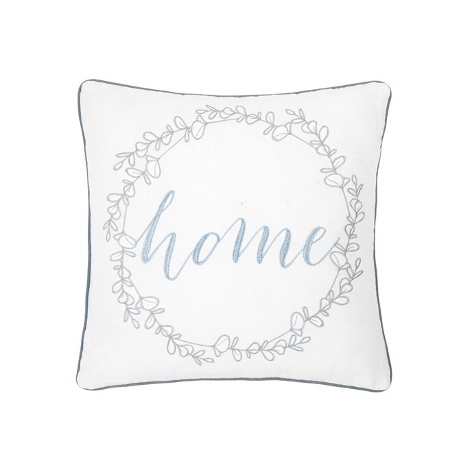 Embroidered Home Wreath Pillow Thumbnail