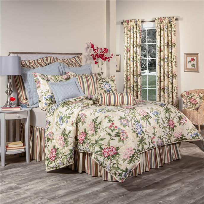 """Hillhouse Queen  Comforter Set with 18"""" Bed Skirt in Stripe Thumbnail"""