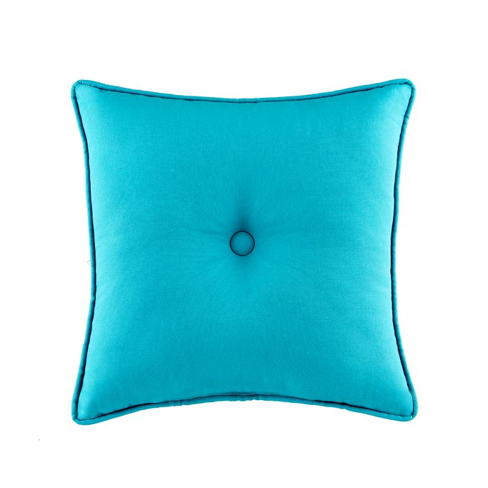 Seaside Treasures Caribbean Solid Square Pillow - Peacock Thumbnail