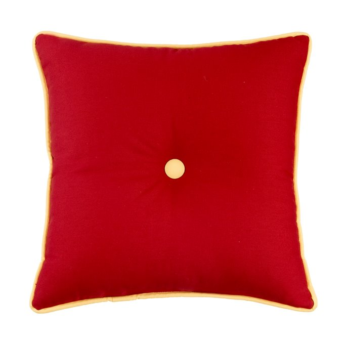 West Bay Solid Square Pillow -Red with Button Thumbnail