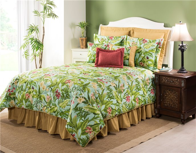 "Wailea Coast Bloom Comforter Set-California King with 15"" Bedskirt Thumbnail"