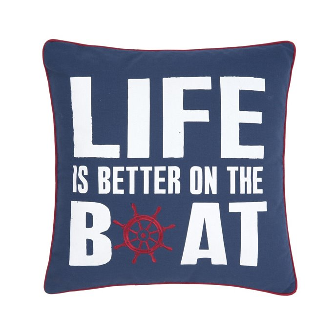 Life is Better on the Boat Embroidered Pillow Thumbnail