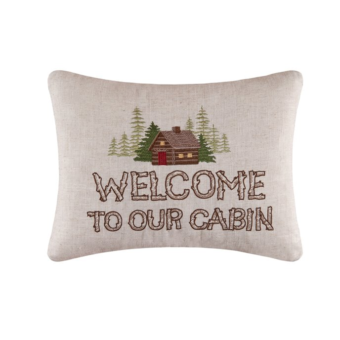 Welcome to Our Cabin Embroidered Pillow Thumbnail