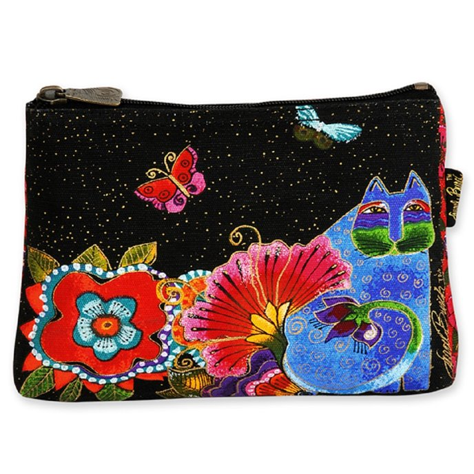 Laurel Burch Feline Friends Cosmetic Bag - butterflies Thumbnail