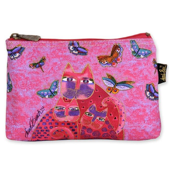 Laurel Burch Feline Friends Cosmetic Bag - pink Thumbnail
