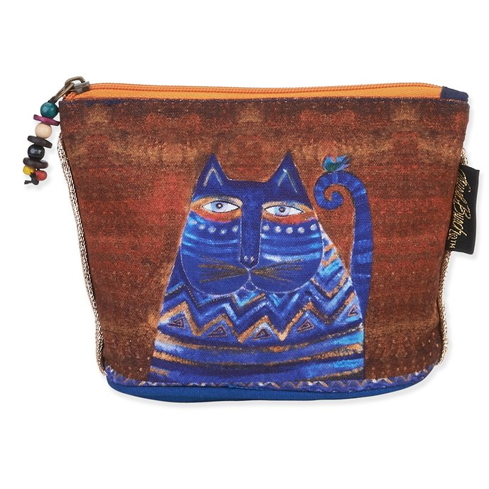 Laurel Burch Feline Mini Cosmetic Bag - blue cat Thumbnail