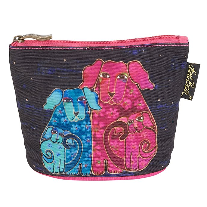 Laurel Burch Canine Friends Mini Cosmetic Bag - dog family Thumbnail
