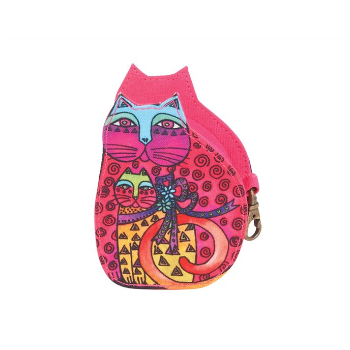 Laurel Burch Mother Daughter Cat Coin Purse - pink Thumbnail