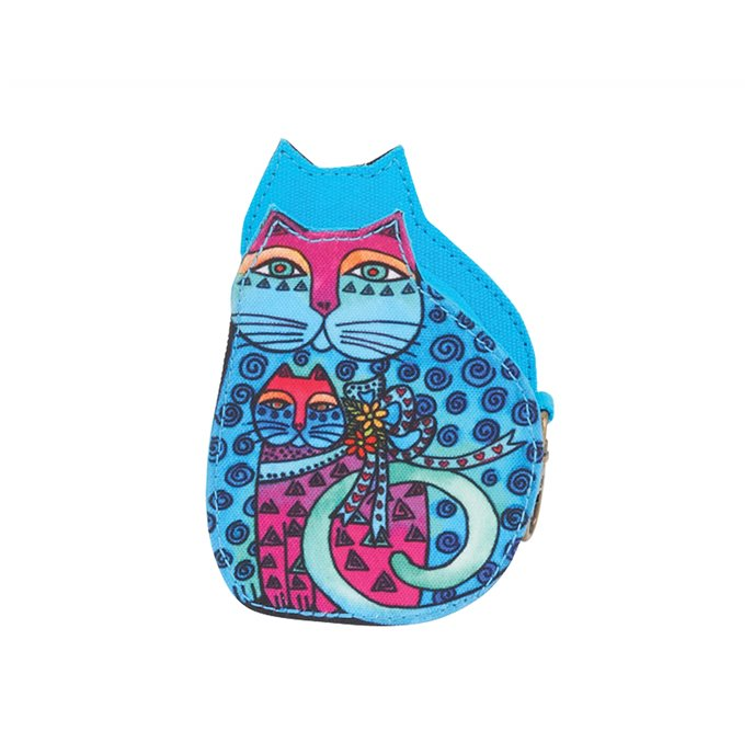 Laurel Burch Mother Daughter Cat Coin Purse - turquoise Thumbnail