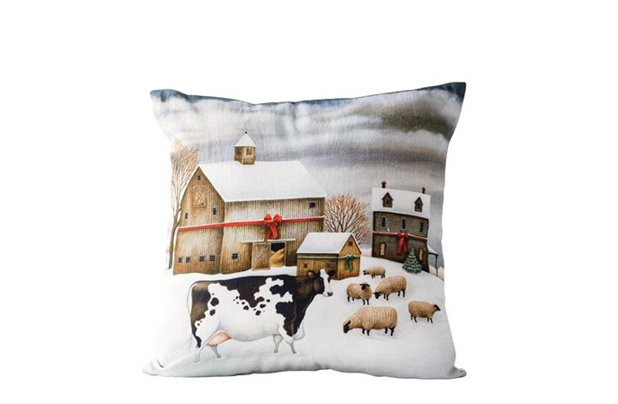 "Winter Farm Scene 18"" Square Cotton Pillow Thumbnail"