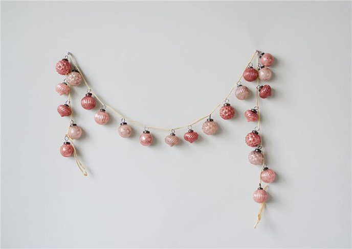 "Embossed Mercury Glass Pink Ornament Garland 72"" Thumbnail"