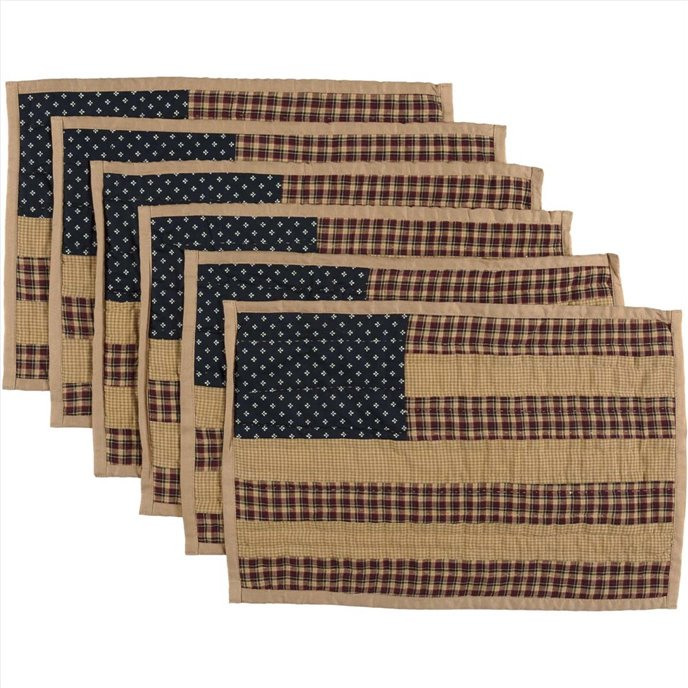 Patriotic Patch Placemat Quilted Set of 6 12x18 Thumbnail