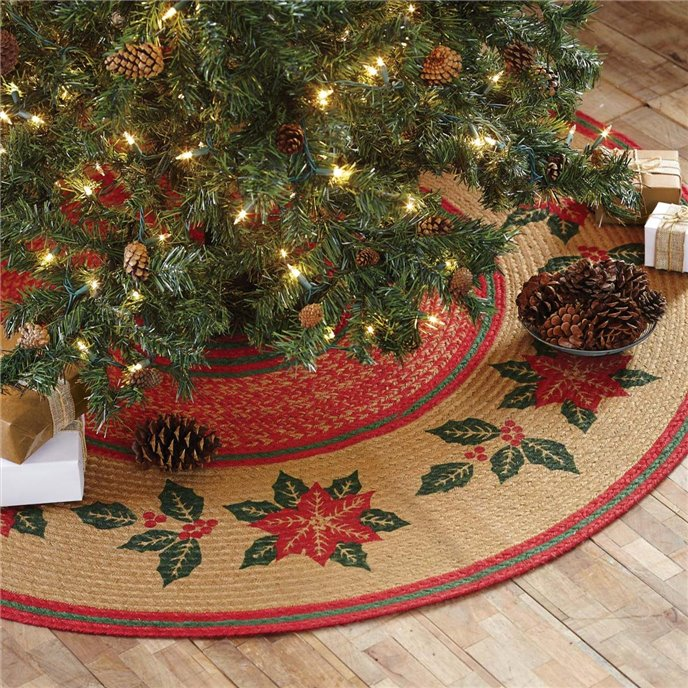 Poinsettia Jute Tree Skirt 50 Thumbnail