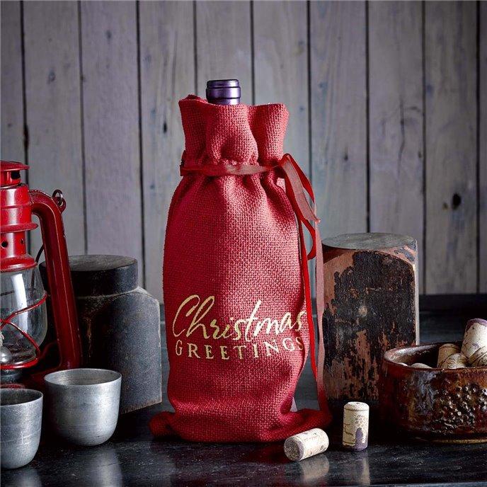 Red Burlap Wine Bag Christmas Greetings 13x6.5 Thumbnail