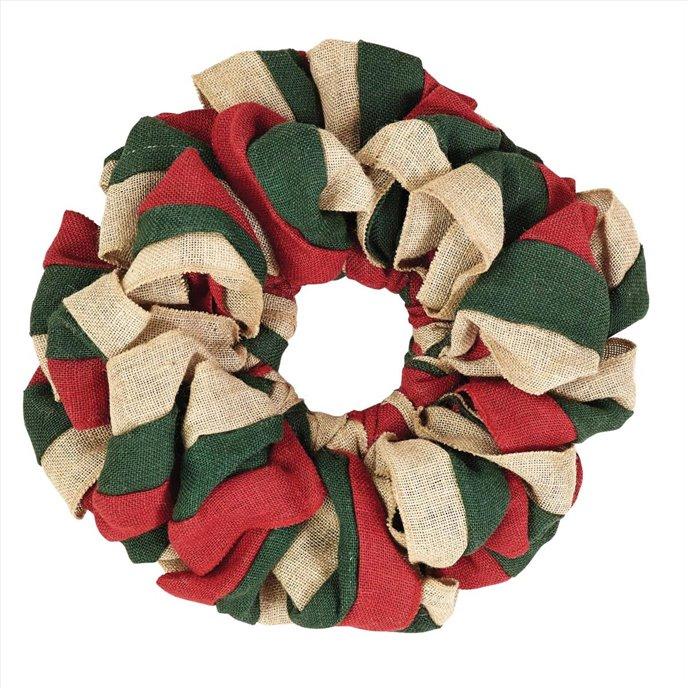 Red, Natural and Green Burlap Wreath 15 Thumbnail