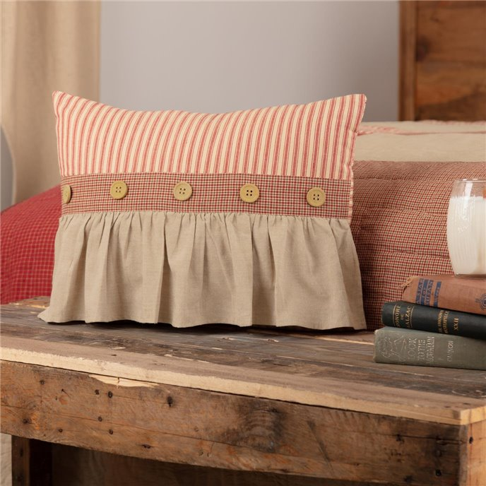 Rory Schoolhouse Red Ruffled Pillow 14x18 Thumbnail