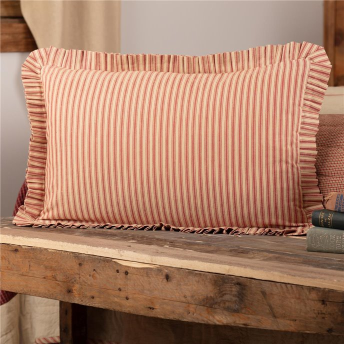 Rory Schoolhouse Red Ticking Stripe Fabric Pillow 14x22 Thumbnail
