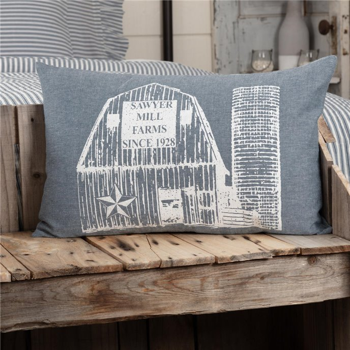 Sawyer Mill Blue Barn Pillow 14x22 Thumbnail