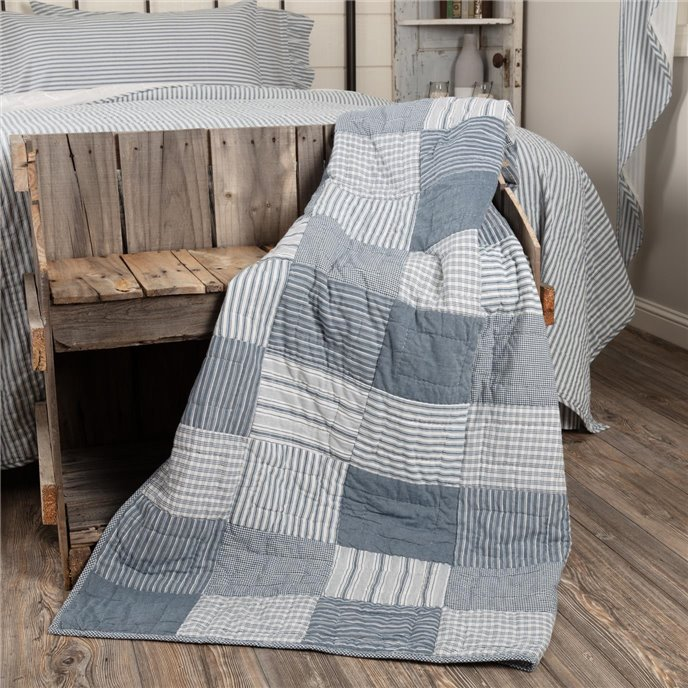 Sawyer Mill Blue Block Quilted Throw 60x50 Thumbnail