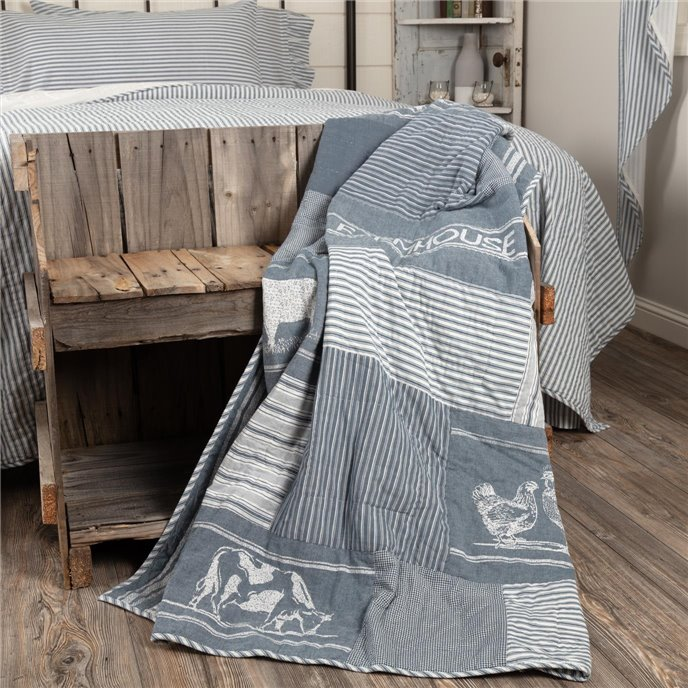 Sawyer Mill Blue Farm Animal Quilted Throw 60x50 Thumbnail
