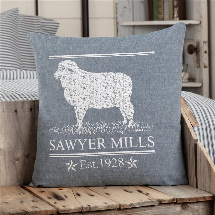 Sawyer Mill Blue Lamb Pillow 18x18 Thumbnail