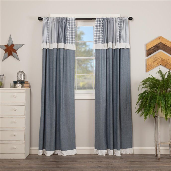 Sawyer Mill Blue Panel with Attached Patchwork Valance Set of 2 84x40 Thumbnail
