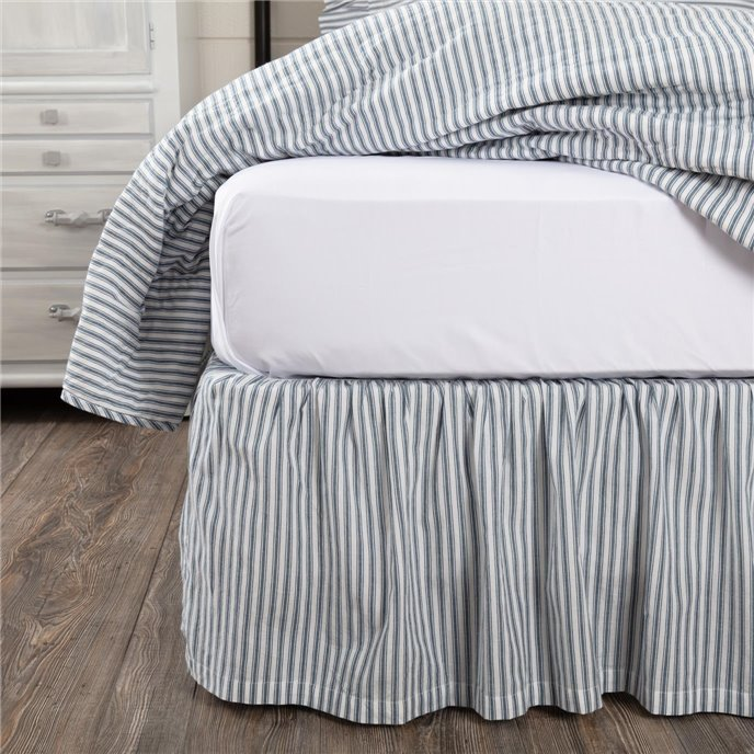 Sawyer Mill Blue Ticking Stripe Queen Bed Skirt 60x80x16 Thumbnail