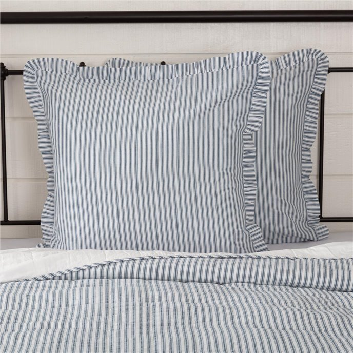 Sawyer Mill Blue Ticking Stripe Fabric Euro Sham 26x26 Thumbnail