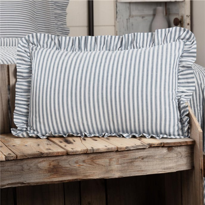 Sawyer Mill Blue Ticking Stripe Fabric Pillow 14x22 Thumbnail