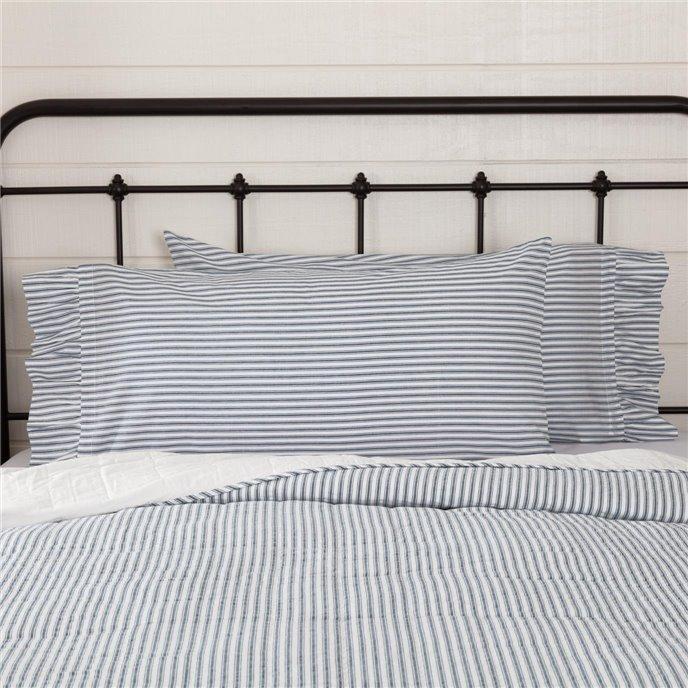 Sawyer Mill Blue Ticking Stripe King Pillow Case Set of 2 21x40 Thumbnail