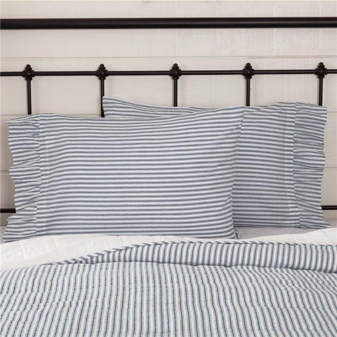 Sawyer Mill Blue Ticking Stripe Ruffled Standard Pillow Case Set of 2 21x30 Thumbnail