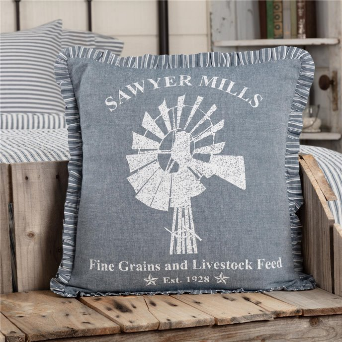 Sawyer Mill Blue Windmill Pillow 18x18 Thumbnail